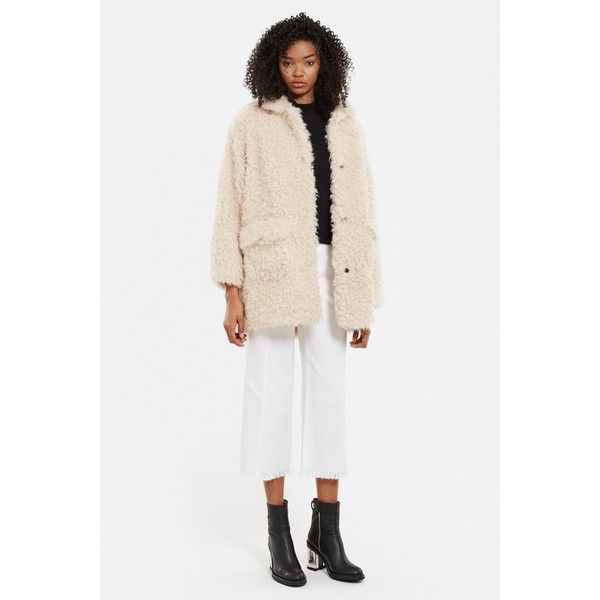 Opening Ceremony Faux Fur Mariko Coat ($595) ❤ liked on Polyvore featuring outerwear, coats, fur and shearling, sycamore, opening ceremony coat, white fake fur coat, summer coat, imitation fur coats and opening ceremony