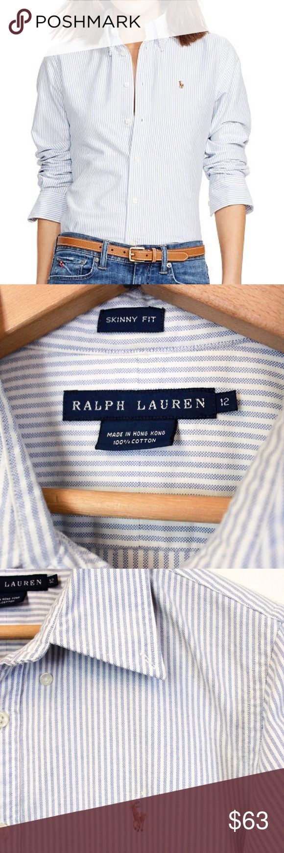 Collared Pinstripe Oxford Polo | Ralph Lauren This classic Ralph Lauren polo is lightweight and perfect for every occasion. This collared button-down is 100% cotton, slim fit, and goes with everything. Wear with skinny jeans, a pencil skirt, or layered under a sweater or blazer. The cut has narrow shoulders and a tapered waist for feminine silhouette. With long sleeves and buttoned barrel cuffs, signature embroidered pony, this a wardrobe staple! Barely worn, dry cleaned, and in perfect…