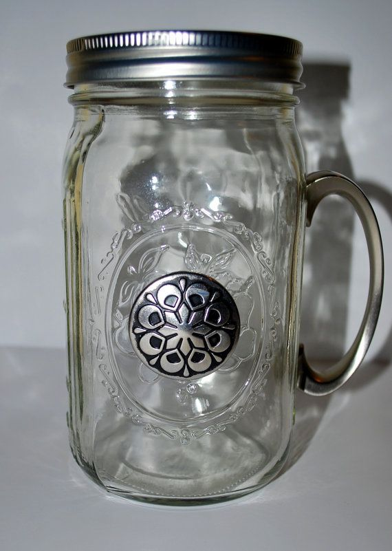 Celtic Flower Quart-Sized Mason Jar With HandleQuartsiz Mason, Quarts Siz Mason, Mason Jars