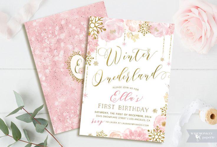 Winter Onederland Birthday invitation winter invite gold pink sweet feminine gold foil baby girl floral  calligraphy digital printable by WisemonkeyPaperie on Etsy https://www.etsy.com/listing/485952893/winter-onederland-birthday-invitation