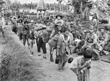 Japanese civilians and soldiers in Tawau, British North Borneo, prior to their embarkation to Jesselton (Kota Kinabalu) after surrender to the Australian forces. WWII
