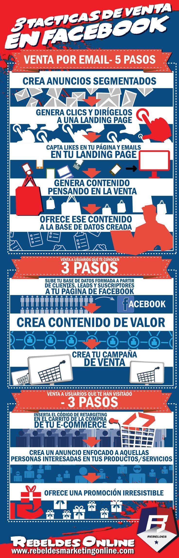 #infografia #infographic TACTICAS DE #VENTA EN #FACEBOOK http://www.rebeldesmarketingonline.com/