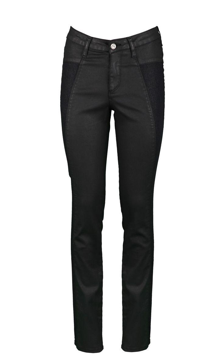 CEVIN NOIR,pantalon 5 poche enduit brillant,avec découpes côtés en jeans,pour un look rock,vendu 69,9€ sur www.depechmod.fr