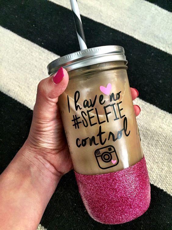 Selfie, No Selfie Control, Glitter Mug, Glitter Mason Jar, Personalized Mason Jar, Personalized Tumbler, bridal shower, bachelorette gift by SipSoSweet on Etsy https://www.etsy.com/listing/287816723/selfie-no-selfie-control-glitter-mug: