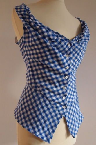 Gorgeous VIVIENNE WESTWOOD Deep Blue & White Gingham Corset Style Blouse