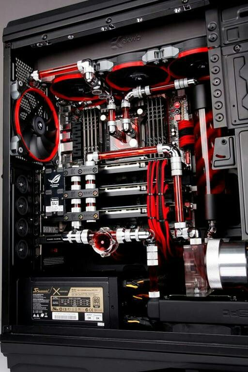 Black red computer tower pc liquid cooled setup case