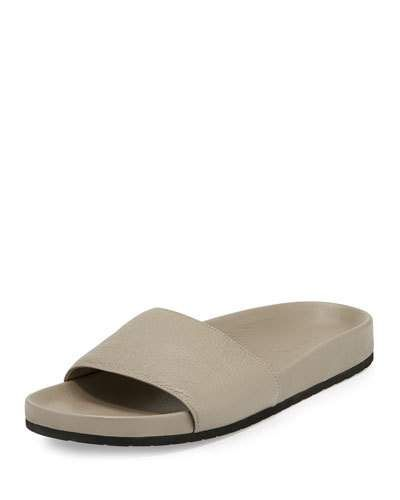 Vince Gavin Leather Pool Slide Light Gray Vince Shoes