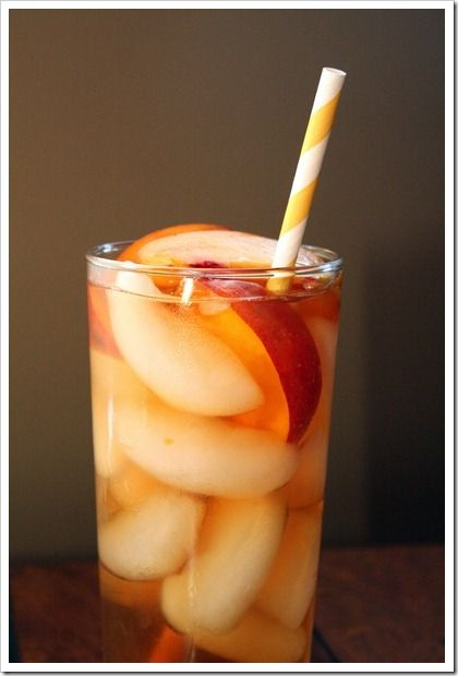 Peach IcedTea: 1 c water, 1 c sugr, 2 chopped peaches bring mixture to boil and simmer until sugar is dissolved, steep 25 min, strain, mix into iced tea or cocktail