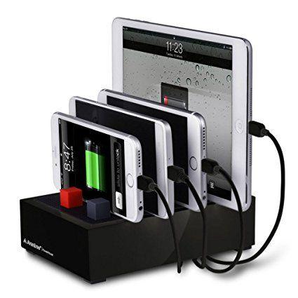 Stacja ładowania stacji roboczych Avantree Multi USB dla wielu urządzeń, 4 portowa ładowarka do szybkiej ładowarki Port 4.5A z funkcją zarządzania kablami dla iPhone iPad Telefony komórkowe tablety itp. (Nie zawiera kabla Apple) - PowerHouse Black