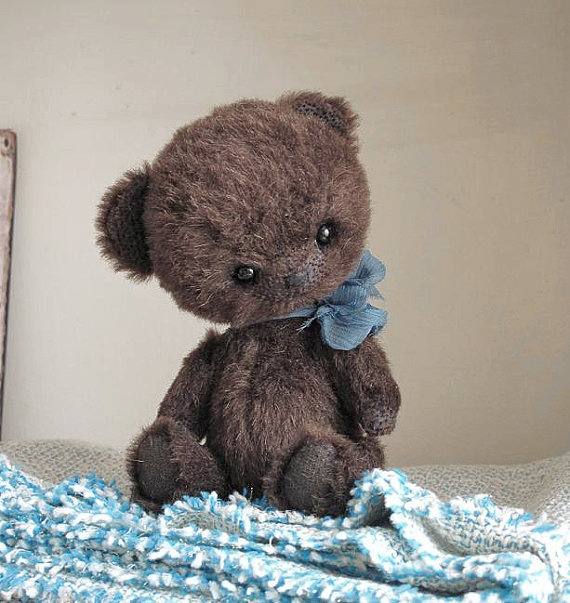 Coal OOAK artist collectible teddy bear by Alena by alenasmirnova,