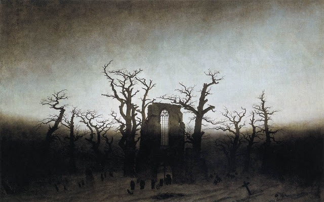 """3/26 Caspar David Friedrich's painting of """"The Abbey in the Oakwood"""". It was painted in Germany and with oil paint. This is the painting we mashed-up with our metaphor to get the idea for our Medea play."""