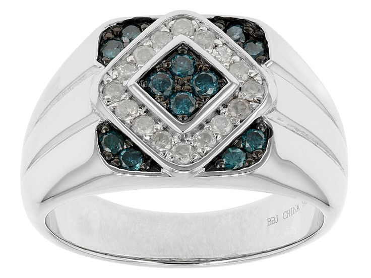 .64ctw Round Blue And White Diamond Rhodium Over Sterling Silver Gents Ring
