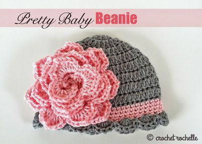 Crochet Rochelle: Pretty Baby Beanie...free pattern..with a link to the free flower pattern!