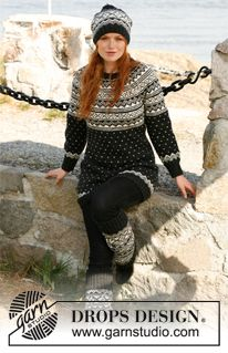 "Nordic Night - Set consists of: Knitted DROPS jumper, hat, gloves and leg warmers with Norwegian pattern in ""Karisma"". Size: S to XXXL. - Free pattern by DROPS Design"