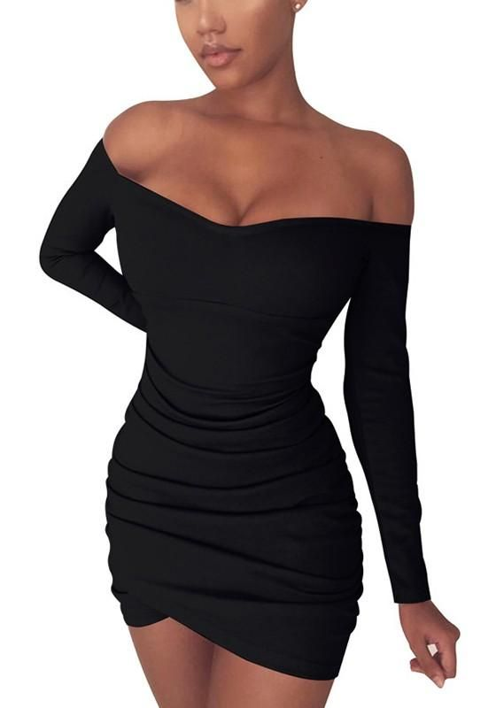 5ec496a910 New Black Irregular Ruffle Boat Neck Long Sleeve Fashion Mini Dress ...