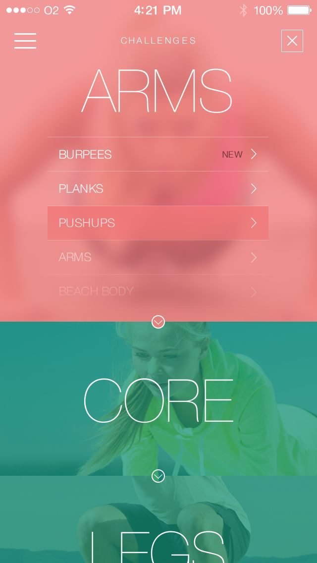 30 Day Fitness Challenges iPhone Application Features