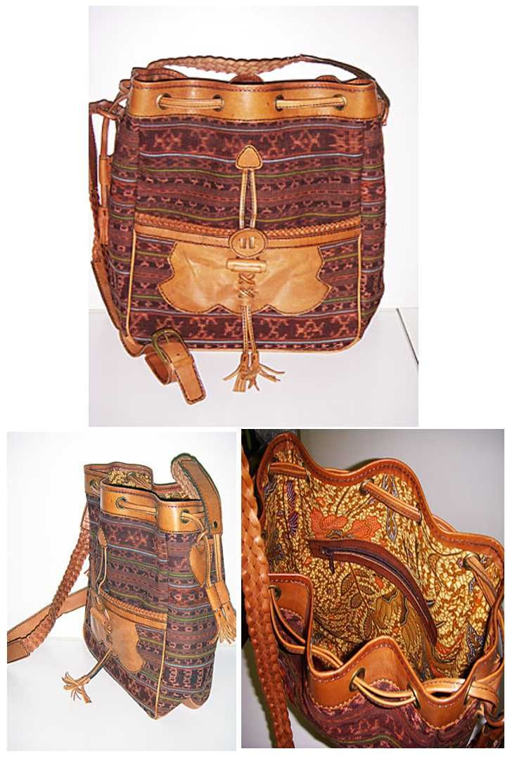 Clubcrafts own design bag in leather and Ikat. Inside the lining is in Batik. Unique piece all hand made.
