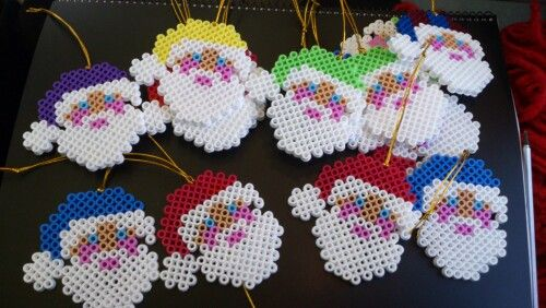 Christmas Santa ornaments hama perler beads by Sonja Ahacarne