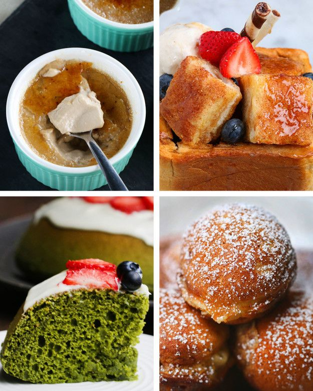 7 Japanese Desserts from Tasty Japan: Fluffy pancake; roasted tea creme brulee, chestnut mochi, etc.
