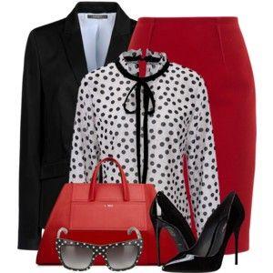Red Pencil Skirt & Polka Dot Blouse
