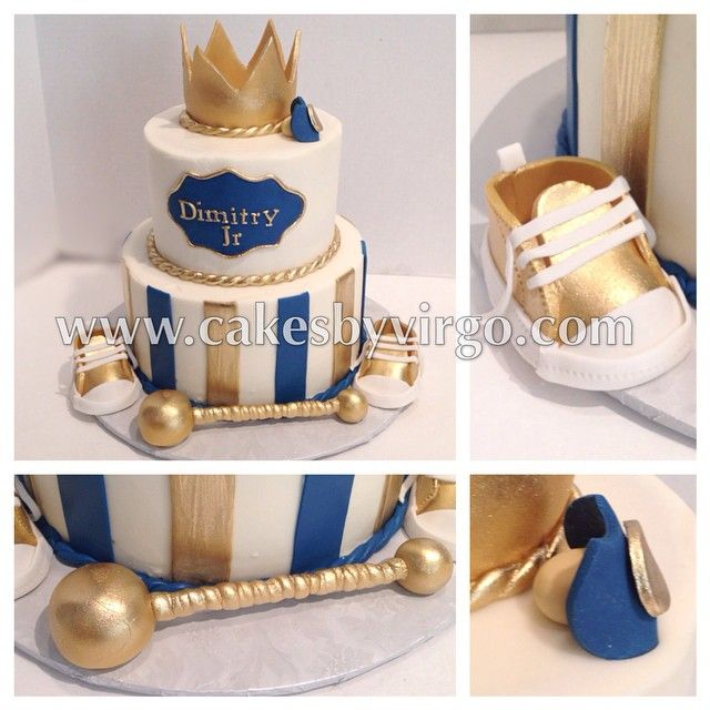 Little prince baby shower cake #gold #prince #princecake #crown #rattle…