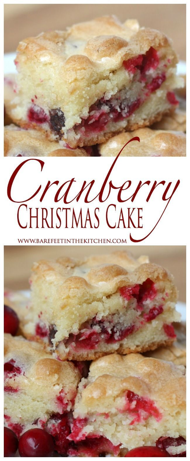 Cranberry Christmas Cake is the ULTIMATE holiday dessert! Get the recipe at barefeetinthekitc...