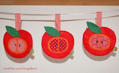 Nadelfein und kringelbunt herbst filz diy handmade stoff for Apfel basteln herbst