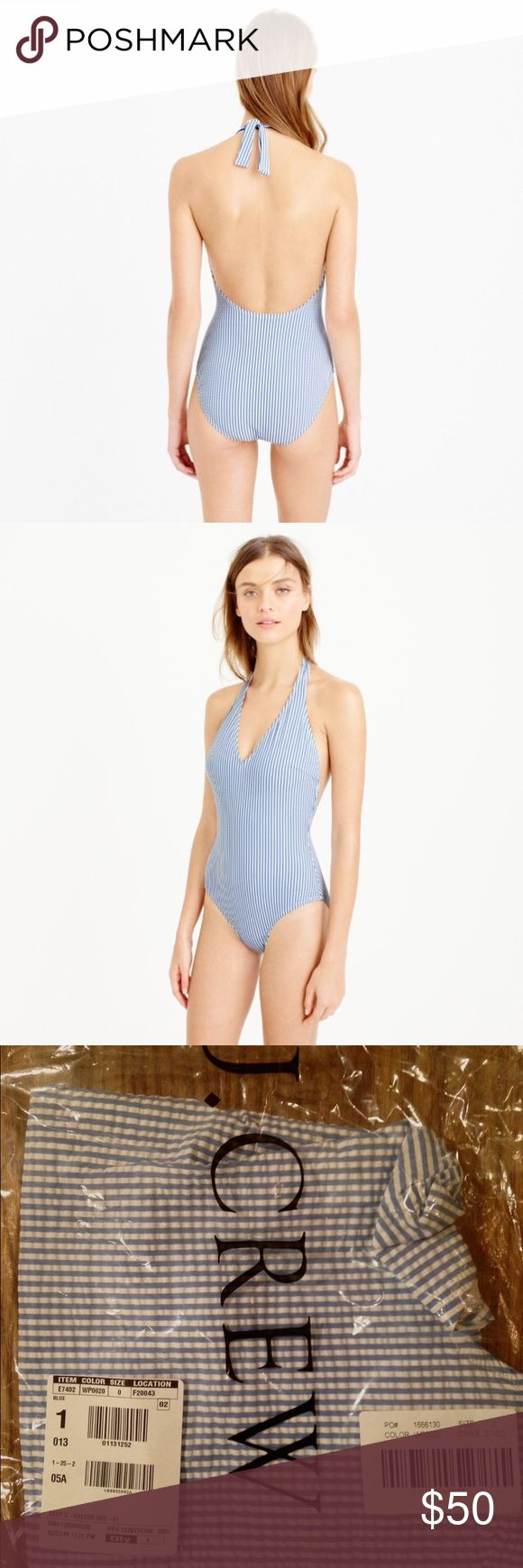J. Crew seersucker halter piece swimsuit NWT Preppy blue and white stripe one piece. Classic and flattering! The v-neck and low back keeps it a little sexy:) it has all the original packaging/ tag attached. I didn't keep it because I ordered two and forgot to return one in time. size 0. Fits true to size. J. Crew Swim One Pieces