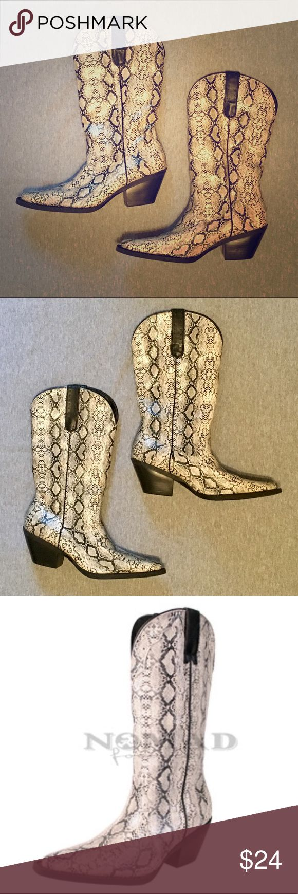 """NWOT Faux Python Skin Cowgirl Boots From Nomad website: """"High quality traditional western style cowboy boot with synthetic python print."""" White, black, and gray in color. Heel height is 2.5"""" and the circumference of the boot opening is 14"""". Women's size 8. New without tags; never worn. Currently for sale on store website. Nomad Footwear Shoes Heeled Boots"""