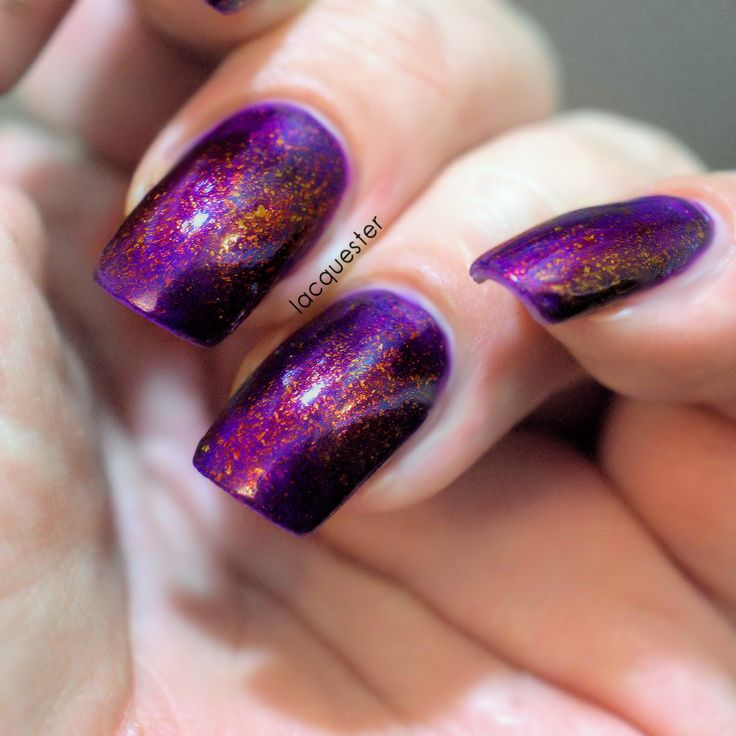 Dragon Heart - A purple nail polish with gold/bronze ultra chameleon flakies
