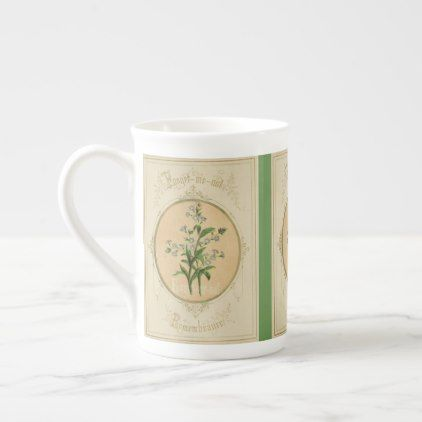 BONE CHINA MUG - LANGUAGE OF FLOWERS FORGET ME NOT - flowers floral flower design unique style
