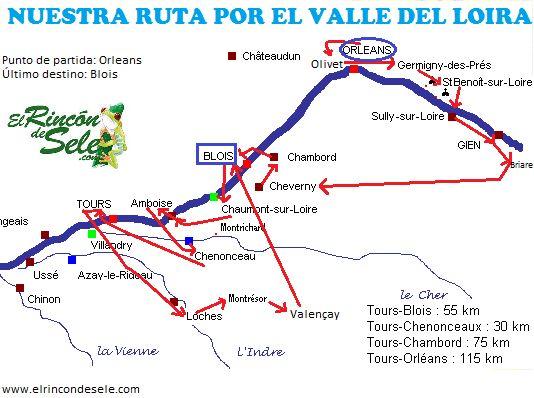 Mapa de la ruta por el Valle del Loira (castillos y ciudades del Loira)