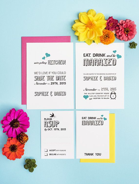 Great Eat Drink And Be Married Casual Wedding Invitation By 3EggsDesign