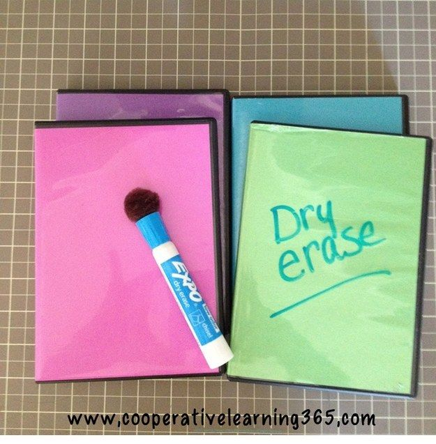Use old DVD cases for dry erase boards. Store markers inside! | 37 Insanely Smart School Teacher Hacks