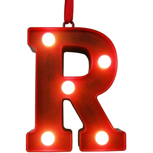 St. Nicholas Square® Red Light-Up Marquee Letter Christmas Ornament (€5,08) ❤ liked on Polyvore featuring home, home decor, holiday decorations, multicolor, personalized home decor, colorful home decor, red christmas ornaments, personalized xmas ornaments and red christmas tree ornaments