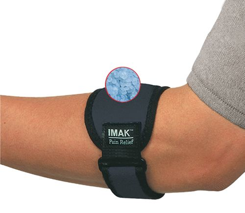 The IMAK Elbow Band is ideal for elbow pain relief * The innovative removable ergoBeads Pressure Pad provides isolated pressure on the affected tendon for maximum pain relief while working or playing * For extra relief  freeze the pressure pad * targeted relief *  Buckle and hook and loop allow easyadjustment for a perfect fit *  Cushioning foam and cotton lining for padded  breathable support * Light and comfortable for complete freedom of movement * One size fits right or left arm