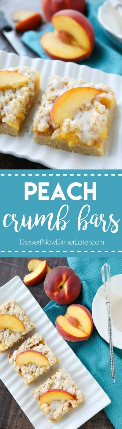 These Peach Crumb Bars are made with fresh summer peaches, sandwiched between a sweet buttery crust and crumb topping, with a hint of cinnamon, and are drizzled with a fresh almond (or vanilla) glaze. The most delicious summer dessert! @mysmithsgrocery #ad