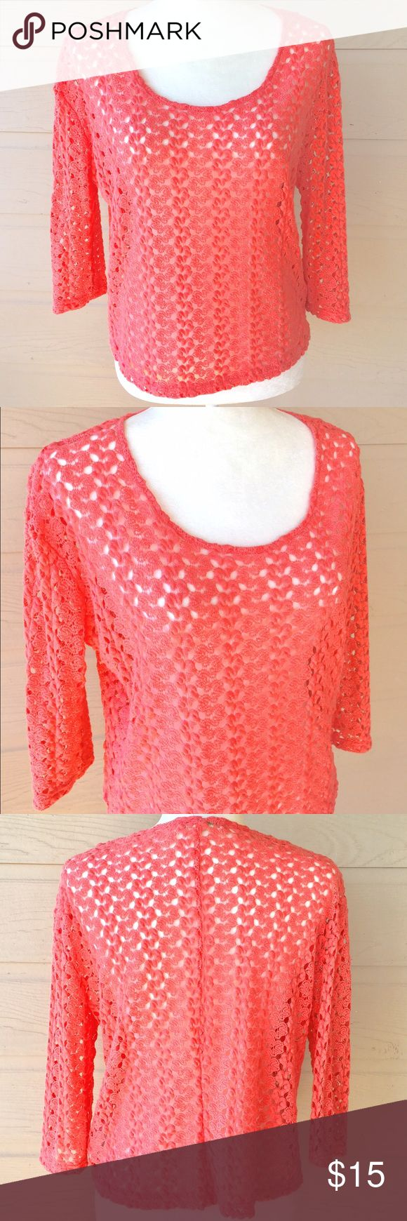 Staring at Stars Lace Coral Shirt Blouse Beautiful staring at stars and lace coral top bust 21 inches length 20 inches. If you have any questions please let me know thank you. Staring at Stars Tops Blouses