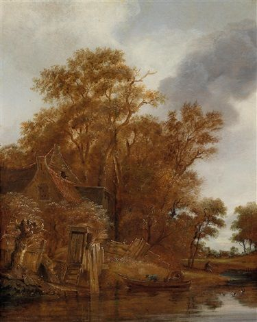 Follower of Cornelis Gerritsz Decker (Dutch, 1625–1678) Title: Landschaft mit Bauernhütte an einem Fluss und Fährboot
