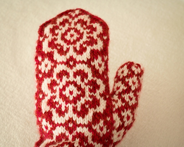winter floral mittens knitted from Mission Falls 1824