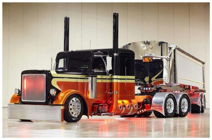 Trucks Custom Big Rig Orange : Orange and black peterbilt big rigs pinterest