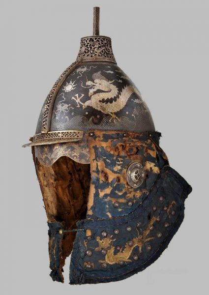 virtual-artifacts:  Chinese chichak-style helmet, Ming Dynasty