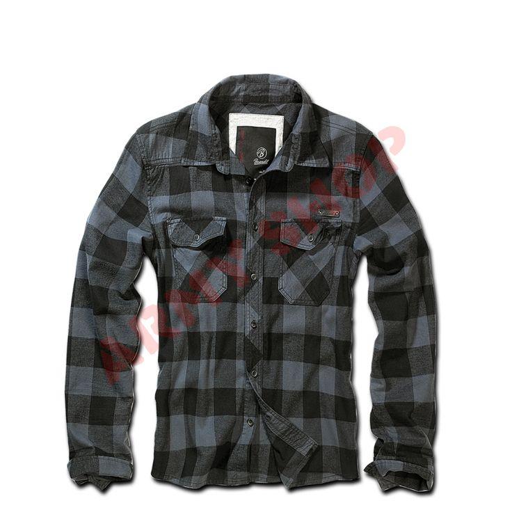 Marškiniai BRANDIT Check Shirt, JUODA/PILKA