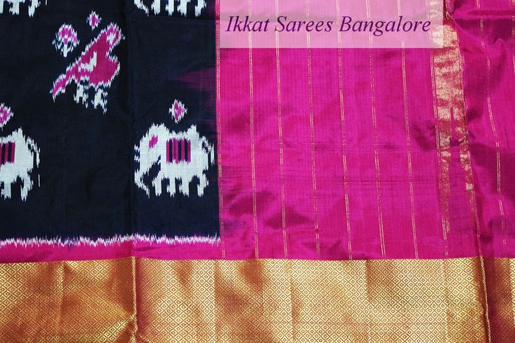 Ikat silk saree in black with elephant & parrot motifs all over the body with pink pallu and 12 inch zari peta border . Code: ISB5201 Write to ikkatsareesbangal... or inbox the message. Contact : +918792177606 www.facebook.com/ikkatsareesbangalore