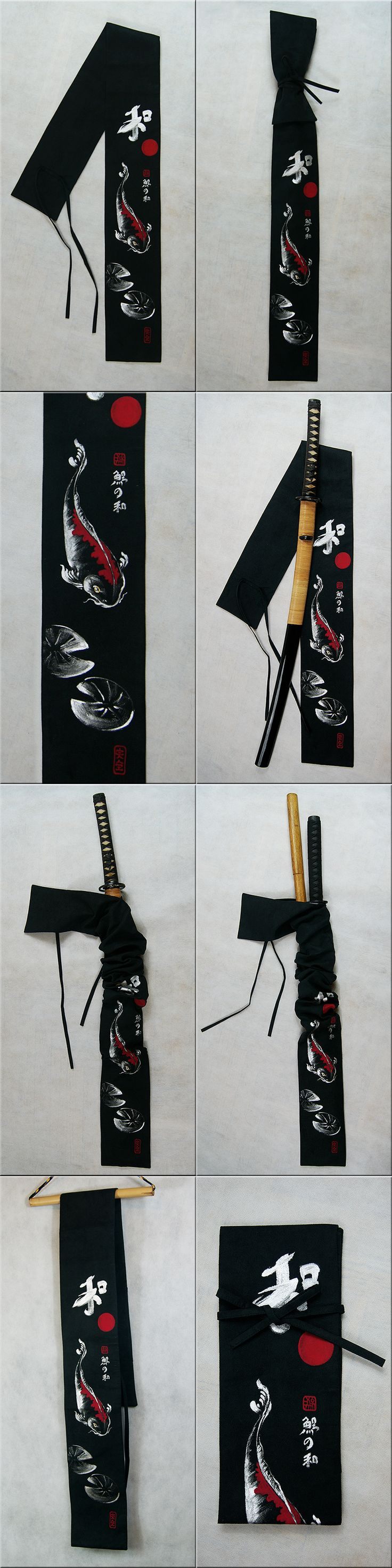 Exclusive suede sword bag. Black with silver & red koi fish (hand painted - it is not a print).