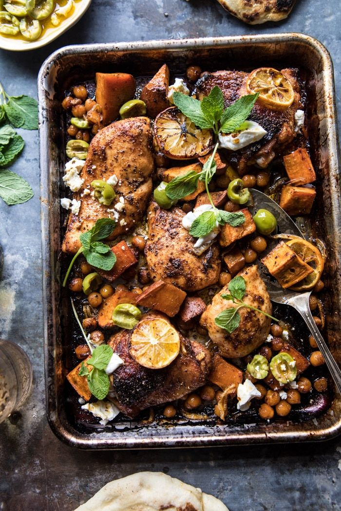 Sheet Pan Harissa Chicken with Chickpeas and Sweet Potatoes: This dish is simple, quick, healthy, so easy, and even more delicious. If you like middle eastern and Moroccan flavors, you'll love this chicken! @halfbakedharvest.com