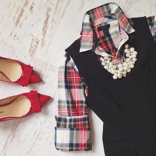 Red Plaid Shirt, Black Sweater Vest, Statement Necklace, Red Bow Shoes