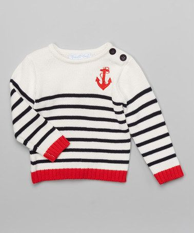 This White & Red Stripe Anchor Sweater - Infant, Toddler & Boys by Powell Craft is perfect! #zulilyfinds