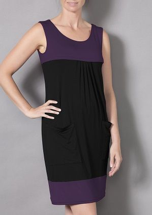 Laila & Spot TWO TONE DRESS in a gorgeous purple/back; $65 - FEATURES * Beautiful soft Bamboo/Viscose Fabric * B/F access through a 2 way zip * Flattering Fit * Pockets for easy access to keys, etc  http://lailaandspot.com.au/catalog/productdetails.aspx?ProductID=113