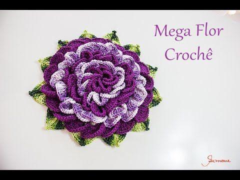 Mega Flor de Crochê - passo a passo - SImone Eleotério - YouTube